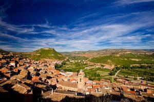 Vista de Ademuz en el valle del rio Turia, provincia de Valencia.