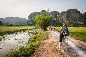 Arrozales de Tam Coc en la zona karstica de Trang An (Ninh Binh province, Vietnam)